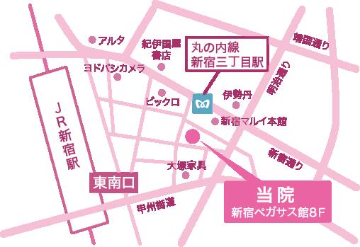新宿駅3丁目美容皮膚科 地図